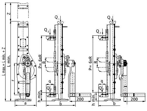Схема реечного домкрата Brano с передвижной опорой 10 т