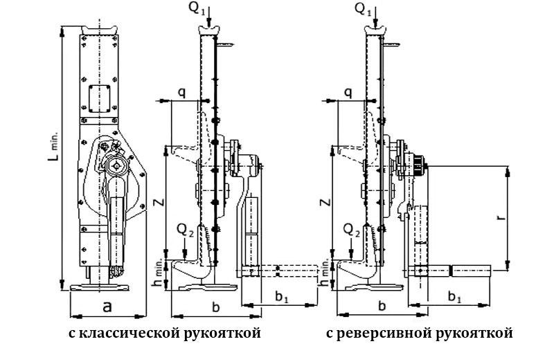 Схема реечного домкрата 20 т